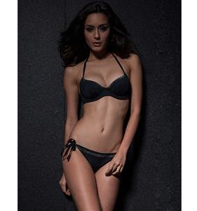 Slight Shiny Black Bikini BK8686