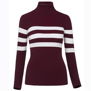 Long Sleeve Pullover Sweater, Turtleneck Stripe Sweater, Slim Pullover Sweater, Women