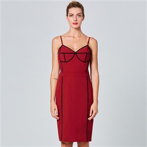 Sleeveless Bodycon Dress, V Neck Mini Dress, Sexy Dresses for Women, Wine-red Sheath Dress, Spaghetti Strap Sheath Dress, Bodycon Midi Dress, Back Zipper Bodycon Dress, #N15707