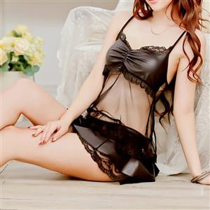 Sexy Black Spaghetti Strap Lace-up Mesh Patchwork Skirt Suit Lingerie Set N16611
