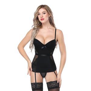 Sexy Black Bustier Corset, Fashion Body Shaper Corset, Spaghetti Strap Low-cut Bustier Corset, Women