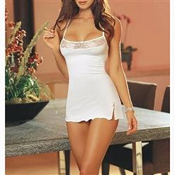 Halter Stretchy Chemise Lingerie, White Low-cut Lingerie Mini Dress, Halter Low-cut Nightgown, Low-cut Stretchy Mini Dress Lingerie, Bodycon Mini Dress Chemise Lingerie, #N17193