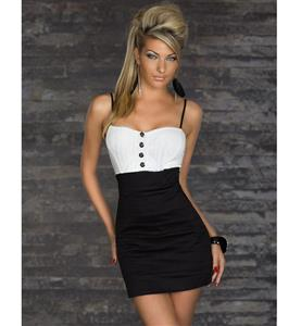 Sexy Bandage Formal Dresses, Sleeveless White Black Slim Strap Dress, Dress With Button-Up Front, #N7787