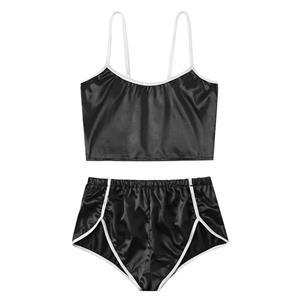 Sexy Black Lingerie Set, Fashion Spaghetti Strap Set, 2 Piece Thin Satin Lingerie Sets, Soft Bra Top and Panty Set, Valentine