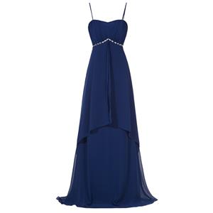 Sleeveless Evening Dress, Evening Party Dark-Blue Dress, Dark-Blue Spaghetti Straps Formal Dress, Chiffion Dark-Blue Dress for Women, Evening Dress for Women, #N15839