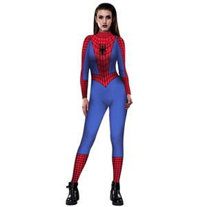 Spider Printed Jumpsuit, Halloween Spider High Neck Slim Fit Bodysuit, Halloween Bodycon Jumpsuit, Long Sleeve High Neck Jumpsuit, Halloween Skeleton Jumpsuit for Women, #N18241
