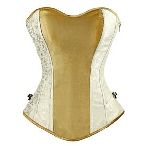 Gold Satin Strapless Corset, Satin and Brocade Corset, Gold and White Overbust Corset, #N8854