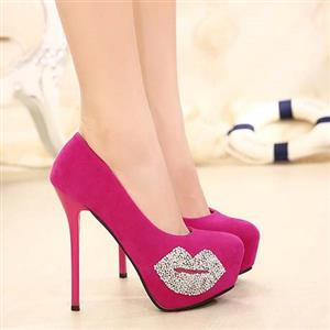 Fashion Mouth Shape Stiletto Heels Pumps, Rose Stiletto High Heels, Round Closed Toe High-heeled Pumps, Suede High-heeled Shoes, Wedding Shoes, #SWS20219