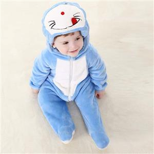 Cheap Baby Romper, Spring Baby Romper, Cat Doraemon Baby Romper, Hot Sale Blue Flannel Romper, #N10388