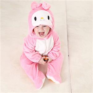 Cheap Cartoon Miffy Baby Romper, Spring Baby Romper, Lovely Pink Miffy Baby Romper, Hot Sale Pink Miffy Flannel Romper, #N10391