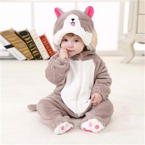 Spring Baby Grey Sweet Cat Flannel Romper N10392