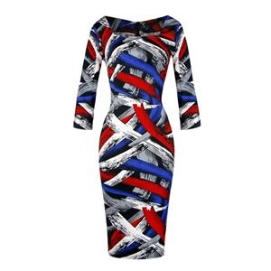 Stretchy Tight-fitting Long Sleeve Bodycon Dress, Printed Bodycon Midi Pullover Wrapped Dress, High Waist Print Bodycon Dress,  Office Lady Long Sleeve Printed Bodycon Dress, Fashion Casual Printed Bodycon Midi Dress, #N19618