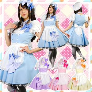 Sexy Lolita Maid Costume, Japonese Maid Costume, Blue and White Maid Costume, #M8707