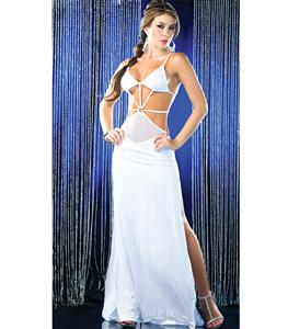 Starburst Front Gown, Long White Gown, Sexy Gown Dress, #N5374