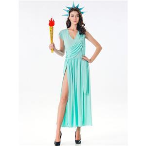 Blue Goddess Costume, Statue of Liberty Halloween Costume, Grecian Goddess Adult Costume, Statue of Liberty Cosplay Costume, Statue of Liberty Robe Adult Costume, #N17099