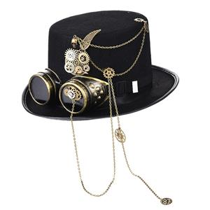 Steampunk Bronze Metal Gear Chain and Goggles Masquerade Costume Top Hat J19511