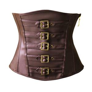 Steampunk Brown Faux Leather Buckles Trim Underbust Corset N10797