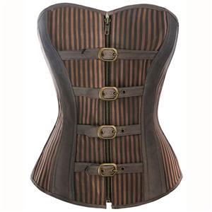 Brown Striped Corset, Fashion Steel Bone Corset, Cheap Steampunk Corset, Front Zipper Corset,Punk Corset, #N9793