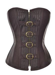 Steampunk Brown Striped Steel Bone Zipper Corset N9793