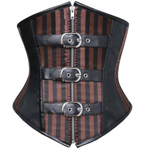 Steampunk Brown Striped Underbust Corset N9297