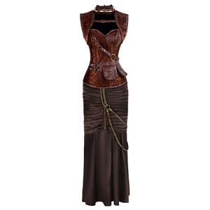 Vintage Steampunk Dancing Corset Skirt Set, Women