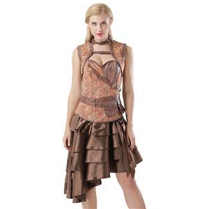 Steampunk Corset, Skirt Sets, Vintage Corset Skirt Set, Gothic   Corset and Skirt Set, Halloween Costume Skirt Set, #N14442