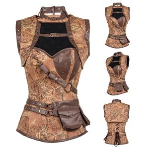 Black Faux Leather and Brocade Corset, Steel Boned Corset with Jacket, Steampunk High Neck Pocket Corset, #N14416