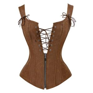 Steampunk Faux Lace Up Vest Corset, Sexy Corset Vest for Women, Corset for Steampunk Costume, Women