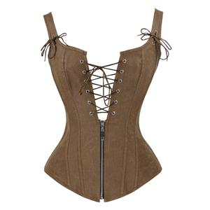 Steampunk Faux Lace Up Vest Corset N11565