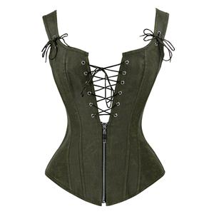 Steampunk Faux Leather Lace Up Vest Corset N14219