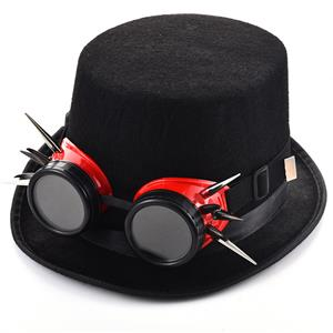 Fancy Vampire Masquerade Party Costume Hat, Steampunk Halloween Cosplay Costume Hat, Retro Fascinator Fancy Ball Top Hat, Vintage Industrial Style Vampire Costume Hat, Fashion Party Costume Hat Accessory, Fancy Victorian Gothic Fascinator, Gothic Style Costume Hat, #J19840
