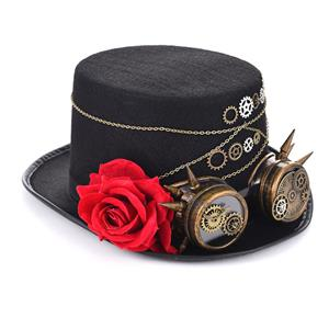Steampunk Red Rose and Gear Goggles Masquerade Fancy Halloween Costume Top Hat J19842