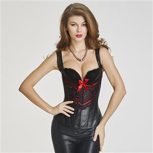 Steampunk Gothic Black Faux Leather Bustier Corset N11374