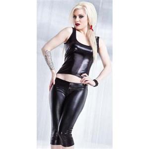Pant Set for Women Sexy, Cheap Black Bodycon Pant Set, Gothic Punk Two-piece Bodysuit, Faux Leather Pants, Wet Look Pant Set Lace-up, #N11033