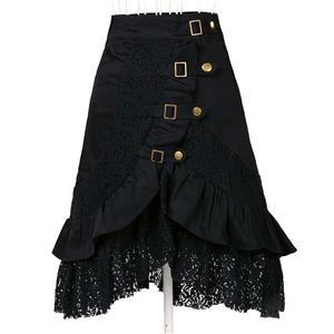 Steampunk Black Skirt, Lace Skirt for Women, Gothic Cosplay Skirt, Halloween Costume Skirt, Plus Size Skirt, #N11116