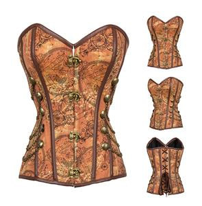 Steampunk Brown Jacquard Steel Boned Busk Closure Outerwear Corset N14415