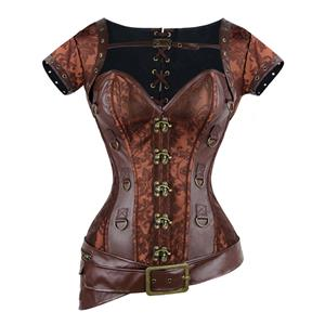 Steampunk Overbust Corset with Jacket & Belt N7942