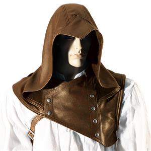 Steampunk PU Hoods Assassin Medieval Knight Cowl Renaissance Cosplay Costume Cloak N19973