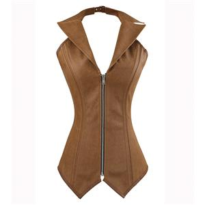 2pcs Vest Leather Corset, Steel bone Leather Corset Brown, Collar Vest Leather Corset, #N8880