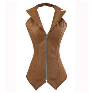 2pcs Vest Leather Corset, Steel bone Leather Corset Brown, Collar Vest Leather Corset, Halter Corset, Women
