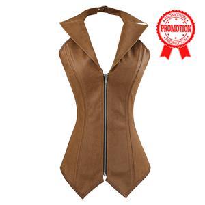 2pcs Vest Leather Corset, Steel bone Leather Corset Brown, Collar Vest Leather Corset, #N8880