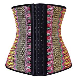 Colorful Steel Bone Underbust Corset, Latex Corset, Fashion Geometric Patterns Underbust Corset, Cheap Women