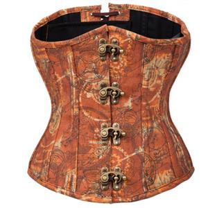 Gothic Retro Brown Steel Boned Underbust Corset N12697