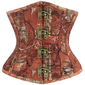Underbust Corset Trainer for Women, Steampunk Corset Waist Trainer, Steel Boned Underbust Corset Brown, Waist Cincher for Women, #N12697