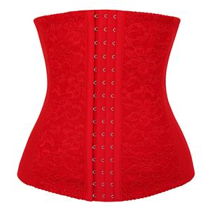 Red Waist Cincher Body Shaper Corset, Lace Decorated Waist Training Corset, Spiral Steel Boned Underbust Corset, Christmas Corset, Steel Boned Waist Trainer, Underbust Waist Cincher, #N9407