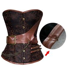 Steel Boned Retro Brown Jacquard Buckle Overbust Corset N10996