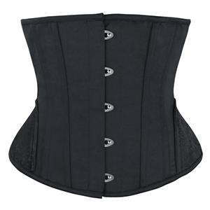 Fashion Black Underbust Corset, Steel Bones Underbust Corset, Waist Training Underbust Corset, Waist Trainer Cincher Belt, Slimmer Body Shaper Belt, Underbust Body Shaper, #N20170