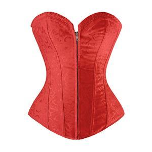 Steel Boned Outerwear Corsets,Jacquard Steel Bones Outerwear Corset, Sexy Red Outerwear Corset, Strapless Steel Boned Corset,Zipper Closure Outerwear Corset, #M21151