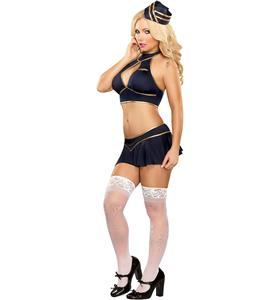 Stewardess Lingerie Costume, Navy Blue Stewardess Costume, Flight Attendant Costume, #N8190