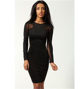 Black Contrast Mesh Yoke Bodycon Dress, Stitching Mesh Exposed Top and Side Dress, Black Long Sleeve Dress, #N7974